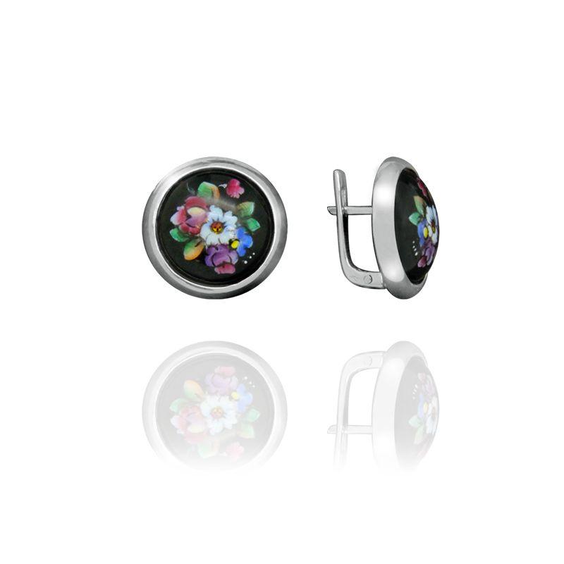 "Rostov enamel / Earrings ""Charm"" round"