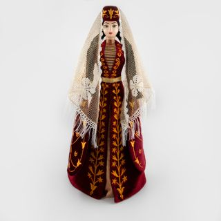 Collectible doll Ossetian in a scarlet suit c Zolotoy embroidery Asik, 34 cm
