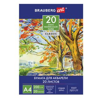 "Watercolor folder A4, 20 sheets, 200 g / m2, 210x297 mm, BRAUBERG ART CLASSIC, ""Summer Day"""