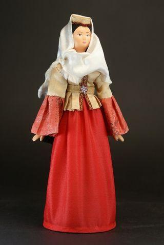 Doll gift porcelain. Northern Azerbaijan. Maiden costume.