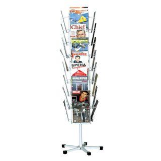 Stand for outdoor advertising material (185х54х54 cm), 32 tray, net, rotary, white