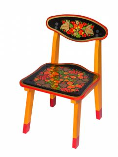 """Khokhloma painting / Wooden children's chair """"Khokhloma painting"""" yellow legs, 1 height category"""