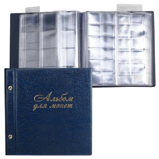 DPS / Album for coins and banknotes on screws universal for 216 coins up to D-45 mm, 224х224 mm, slide-out pockets, blue