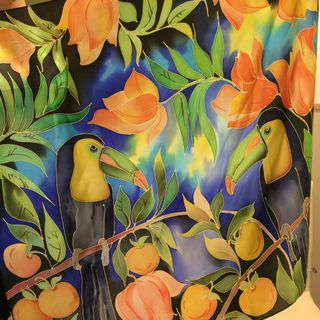 "Silk scarf ""Toucans"""
