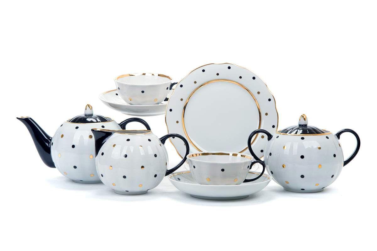 "Dulevo porcelain / Tea set 21 pcs Tulip rice. ""Peas"" by M. L. Bezenkova"