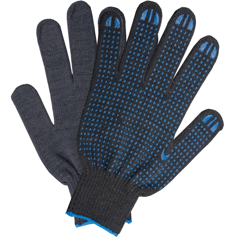 LIMA / Cotton gloves LUX, SET of 5 PAIRS, 10 class, 40-42 g, 116 tex, PVC dot, BLACK