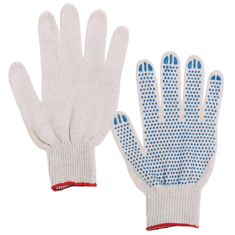 LIME / Cotton gloves STANDARD, SET of 300 PAIRS, 7.5 class, 46-48 g, 166 tex, PVC dot, WHITE