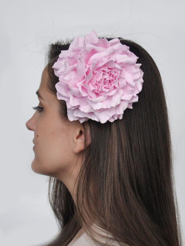 Hair clip brooch rose light pink