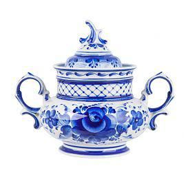 Dove sugar bowl, Gzhel Porcelain factory