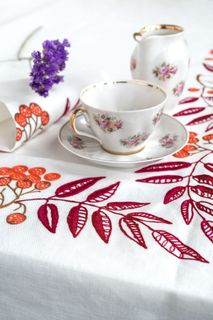 Tablecloth and 12 napkins Ryabina white embroidery floss