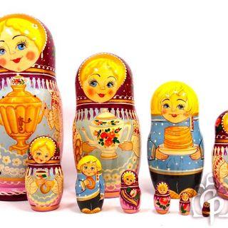 "Rossijanochka - booklet matryoshka, 10 puppets - booklet No. 14 ""Samovar"""