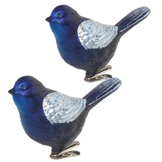 """GOLDEN FAIRY TALE / Christmas tree decorations """"Bird"""", SET 2 pcs., Plastic, 11 cm, blue with silver wings"""