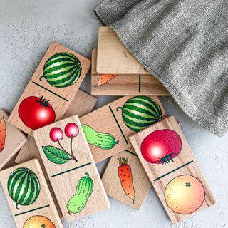 """Children's Domino """"Fruits-vegetables"""" in linen bags"""