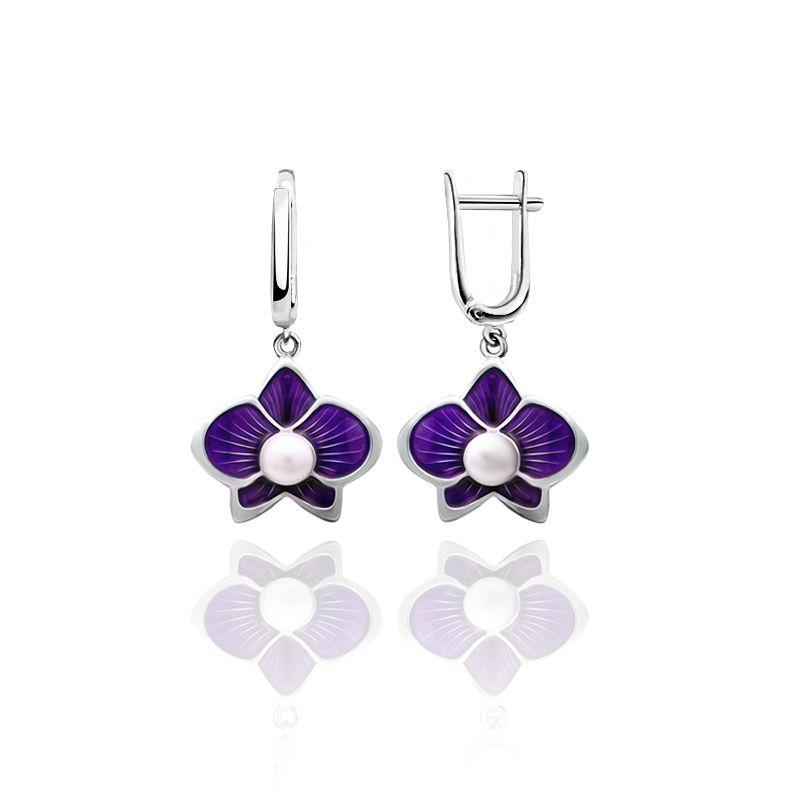 "Rostov enamel / Earrings ""Margarita"" purple"