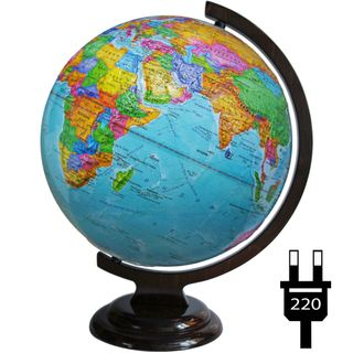 Political globe with a diameter of 320 mm raised on a wooden stand with backlight