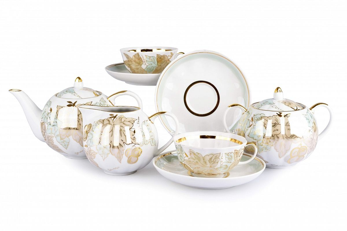 Dulevo porcelain / Tea set 15 pcs. Tulip flora
