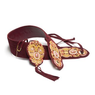 "Women's belt ""Flapping wing"" Burgundy with gold embroidery"