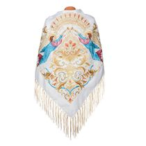 Shawl 'guardian angel' beige with gold embroidery