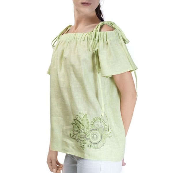 Women's blouse 'Dion' green with silk embroidery and short sleeve