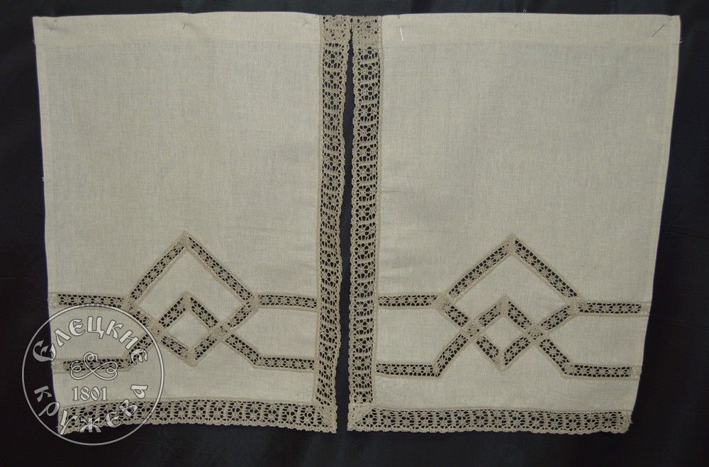 Yelets lace / Set of linen curtains С2242
