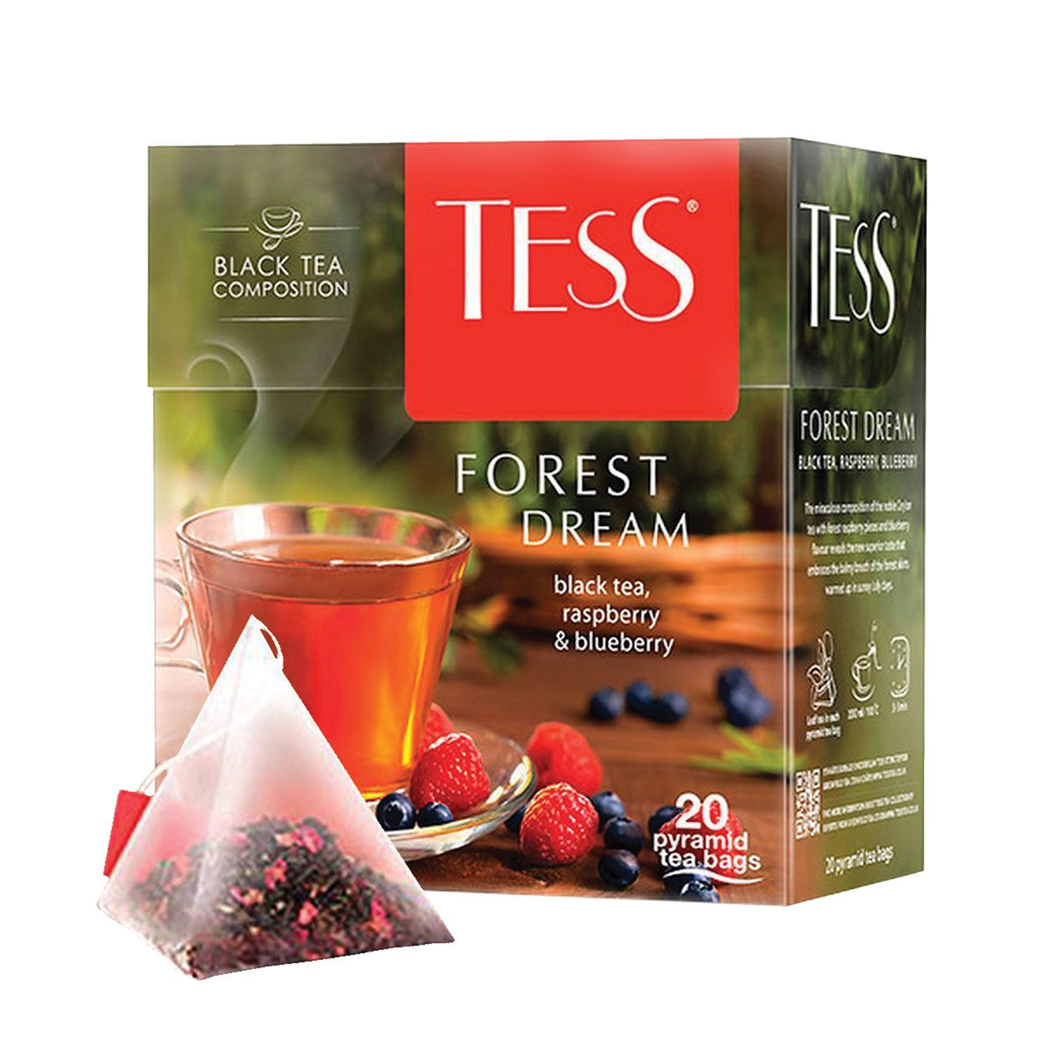 """TESS / Tea """"Forest Dream"""" black with raspberries and blueberries, 20 pyramids, 1.8 g each"""