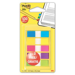 Bookmark adhesive POST-IT, plastic, 12 mm, 3+5 colors x 20 pieces
