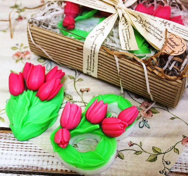 Set of handmade soap Tulips for March 8