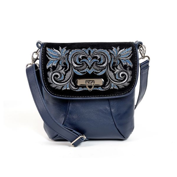 Leather bag 'Isabel' blue with gold embroidery