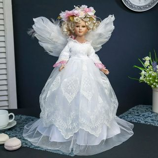 "Porcelain doll ""the angel-girl in floral wreath"""