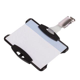 DURABLE / Badge holder, hard plastic, metal turn, clip, black, KIT 25 pcs.