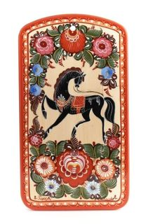 "Gorodets painting / Painted kitchen board ""Horse"" 350x200x16 mm"