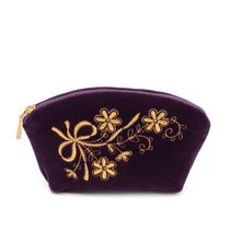 Velvet cosmetic bag 'Holiday' purple with gold embroidery