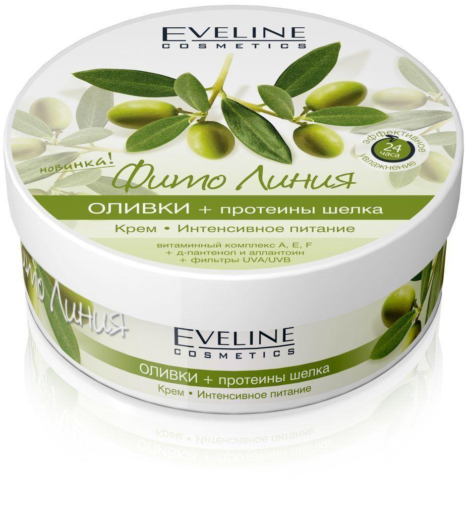 Cream-intense nourishment: olive+silk proteins series phyto line, Eveline, 210 ml