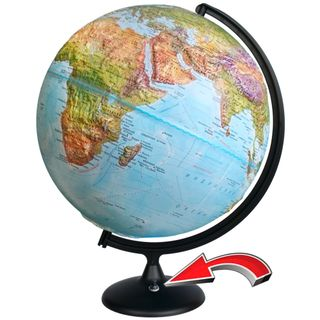 Geographical relief globe with a diameter of 420 mm with backlight battery powered (batteries not included)