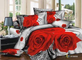 Linen Satin 3D Roses Leo