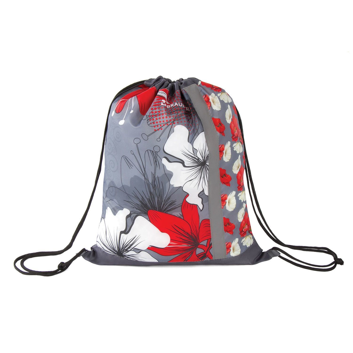 Shoe bag BRAUBERG 1 compartment, reflective strip, with the mesh 46 * 36 cm, Flowers