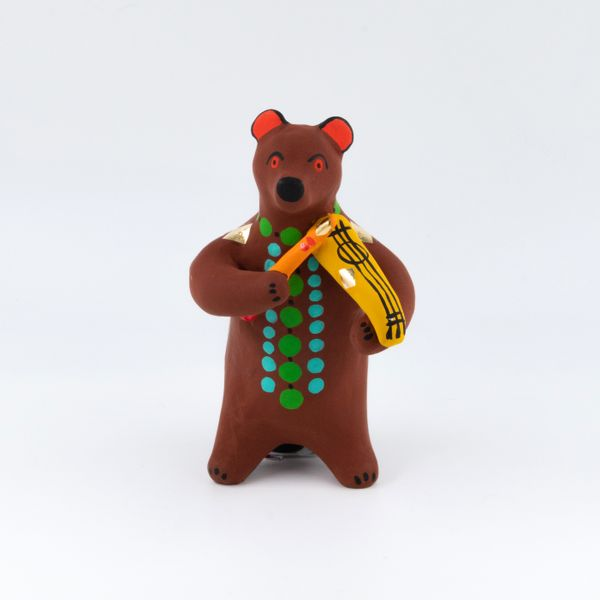 Clay toy Bear with violin 8.5 x 12.5 x 8, Dymkovo toys