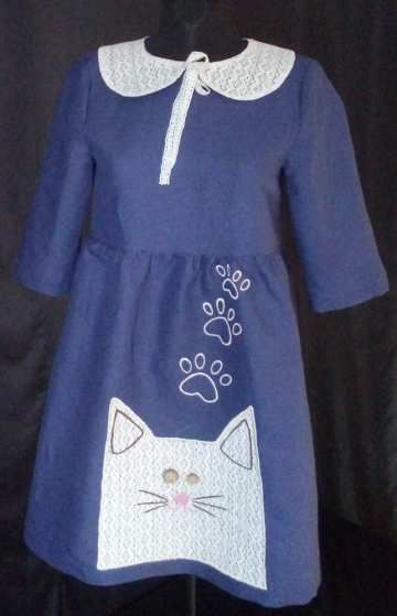 Yelets lace / Linen dress for girls