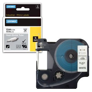 DYMO Rhino Label Printer Cartridge 12mm x 1.5m Heat Shrink Tubing Black Font White Tubing