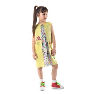 "Baby dress ""lovely garden"" with yellow silk embroidery"