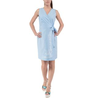 Women's dress of blue silk with embroidery