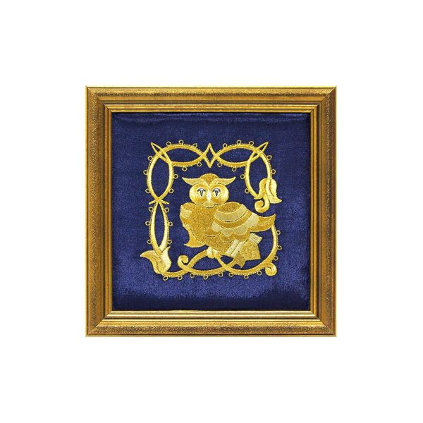 Panel 'Owl' blue with gold embroidery