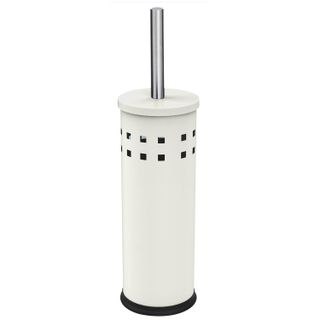 LIMA / Toilet brush with stand, metal, white, glossy