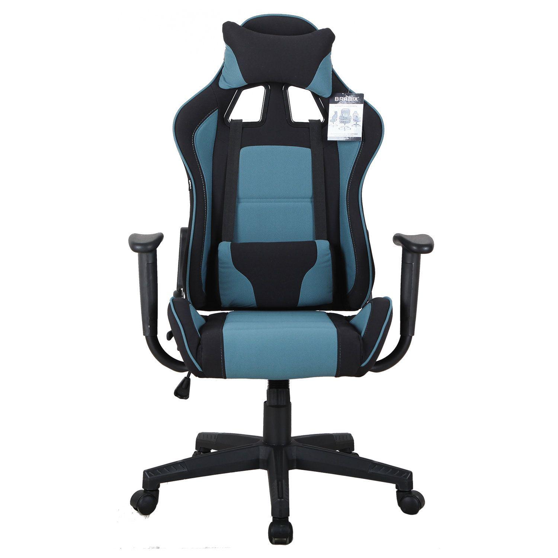 "Computer chair BRABIX ""GT Racer GM-100"", two pillows, fabric, black / blue"