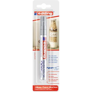 Edding / Marker varnish glossy, round nib, 1-2 mm, blister Silver