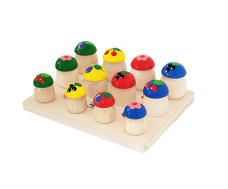"""Krasnokamsk toy / Educational game made of wood """"Mushrooms"""" 12 pieces"""