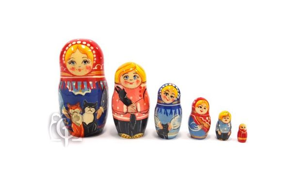 Russian woman - Russian doll booklet, 10 dolls - booklet No. 14 'Cats-2'