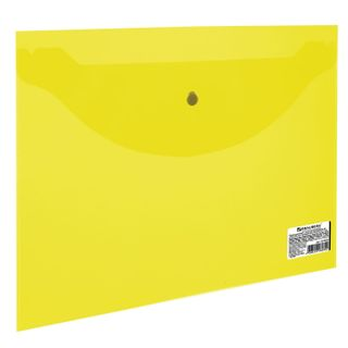 Folder-envelope with button SMALL FORMAT (240х190 mm), A5, transparent, yellow, 0.18 mm, BRAUBERG