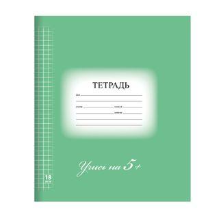 """Notebook of 18 sheets BRAUBERG ECO """"5-KA"""", cage, cover thick coated paper, GREEN"""