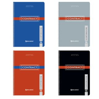 Notebook A4, 96 sheets, BRAUBERG, comb, cage, cover cardboard, CONTRACT